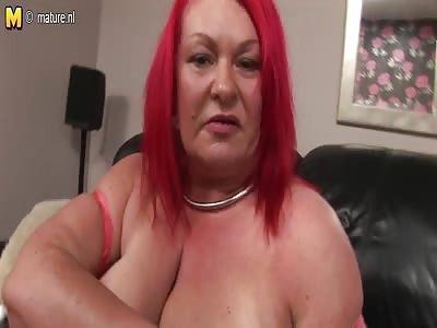 Mature red hair pierced women with dildo