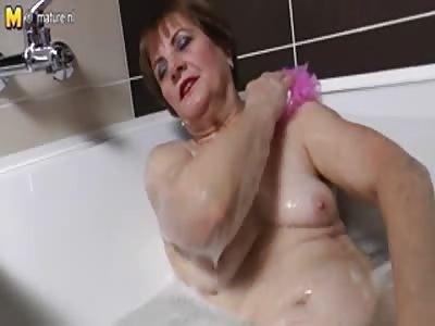 Grandma in the bath