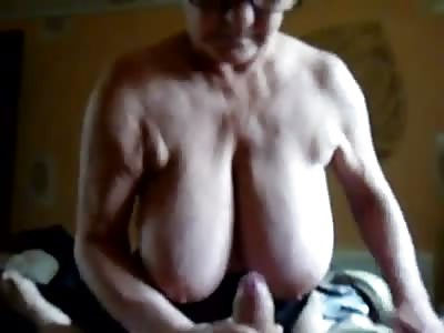 Granny with big tits, sucks cock