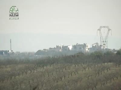 Ahrar al-Sham TOW missile scores a catastrophic hit on an SAA T-72 - 1