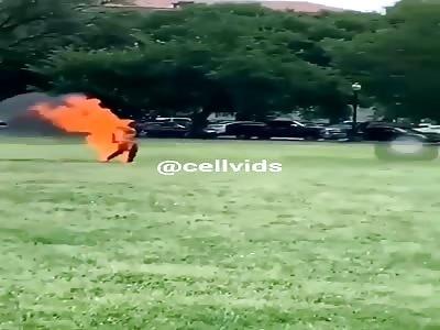 Terrifying Man Set Himself On Fire On the Ellipse Park Near White House In Downtown Washington D C