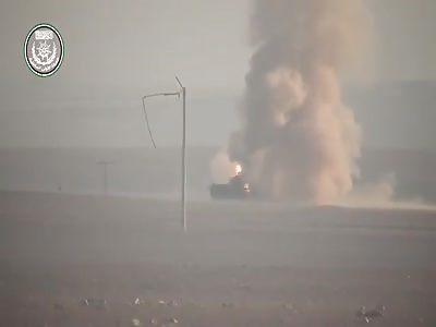 FSA rebels blow up an Assad regime tank and heavy machine gun nest with TOW strikes.