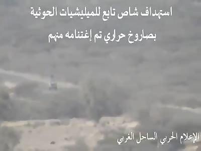 Yemen ATGM strike on Houthi vehicle in Hudaydah Province.