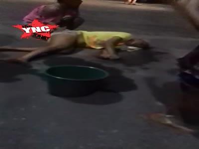 Husband beating on woman