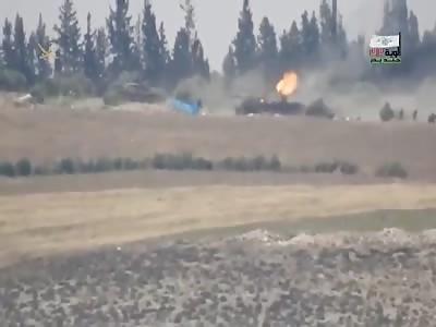 Video shows rebels (Jund Badr 313) blowing up 2 Assad tanks with