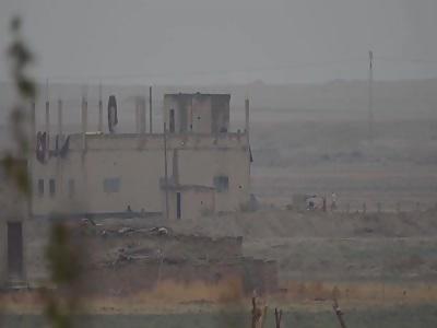 Destruction with a machine gun from the PKK militia outside the villag
