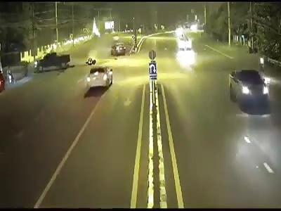 CCTV. accident.motorcycle vs automobile