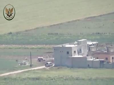 Video shows FSA rebels blowing up regime van and several regime fighte