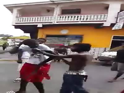 carribean machete negro, takes bitch slaps like he's used to it