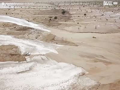 CLOSE CALL!! TRUCK NARROWLY ESCAPES FLASH FLOOD IN SAUDI ARABIA