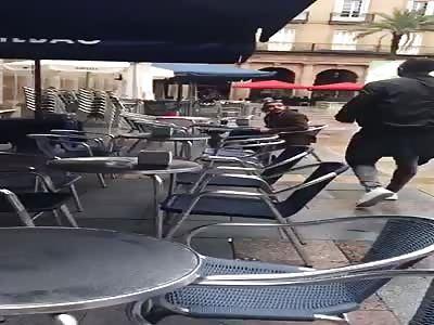 Stupid hooligan punches man and dog for no reason