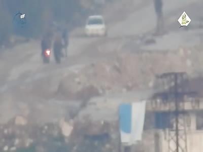JaM TOW kills a group of Shia mercs in Al-Assad suburb, west Aleppo. Topic: Syria TOW strike Assadists Aleppo West