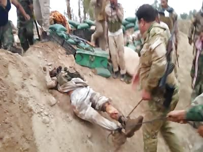 broken daesh soldiers dragged
