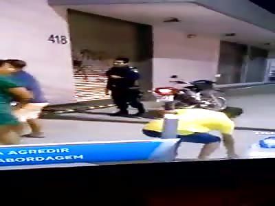 municipal guard receives a stone in the face in Brazil