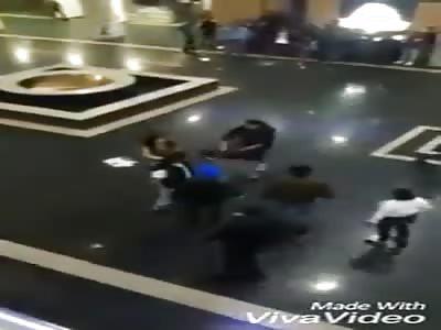 brutally beaten man in shoping