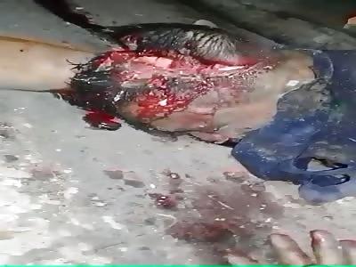Brutal murder man with head destroyed after shotgun shot