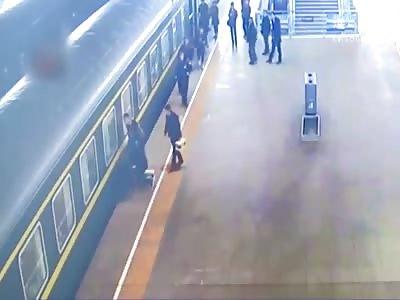 little girl fell into the train car bottom