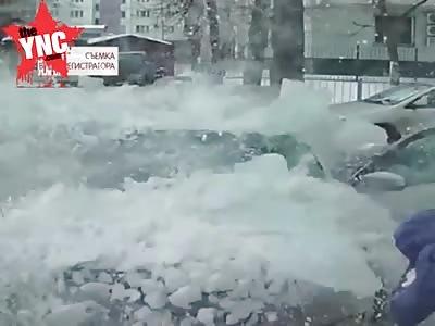 massive Block of ice fell on car
