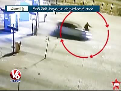 Speeding Car Hits a Toll Gate Employee In Sangareddy