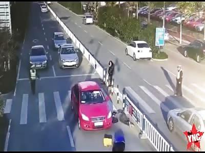 love couple hit on the zebra crossing in Changshu