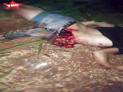 Fatal Accident a mans insides are exposed   in Colonia Minga Porá, Alto Parana, Paraguay