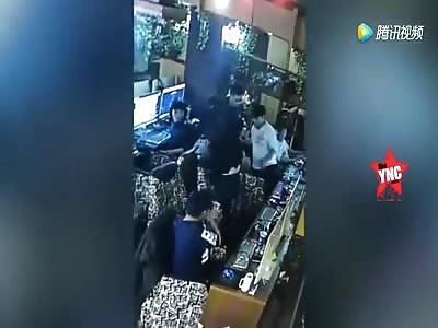 a lighter explodes next to a woman's face