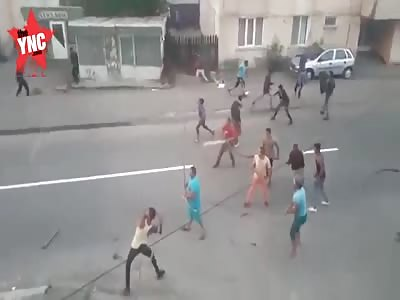 big street fight in Romania