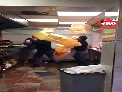 Chip shop fight in Birmingham,England