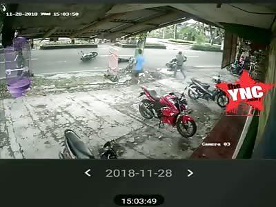 two bikes collided  into each other in  Jl. KRT PringgodiningratKabupaten Sleman, Daerah Istimewa Yogyakarta