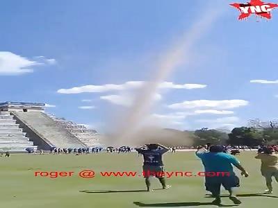 a nice tornado at the Chichen Itza pyramid