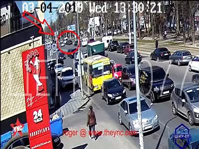 A Asphalt sand explosion under a car in Ukraine