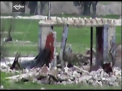 Syrian soldier skull shattered by sniper shot