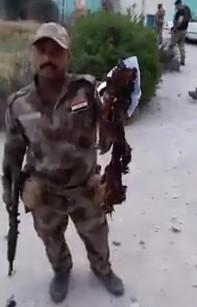 Remains of terrorist Suicide Bomber in Alepo , Syria