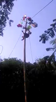 Guy falls off pole.....