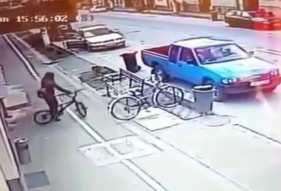 Girl on BMX Bike Gets Struck by Car
