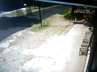 Fatal Impact: Motorcyclist flips over handlebars into a pole