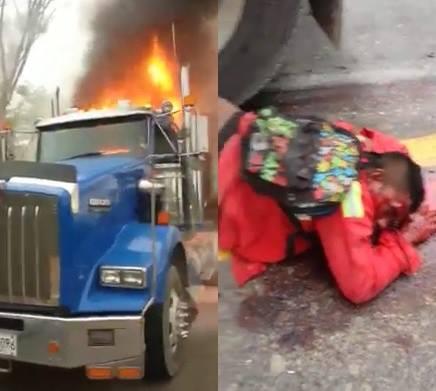 Mans Legs Crushed Under Burning Truck (still alive)