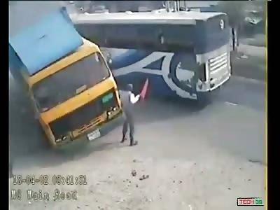 Speeding Bus Kills Two Indians on a Rickshaw