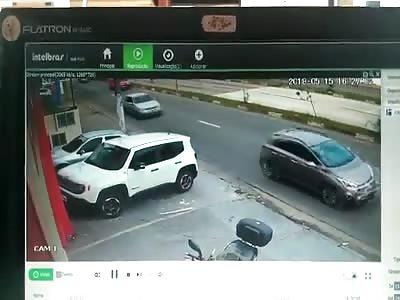 Bandit Smashes into Biker Ending Police Chase