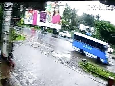 Damn... Biker Crushed by a Bus in Kakkad