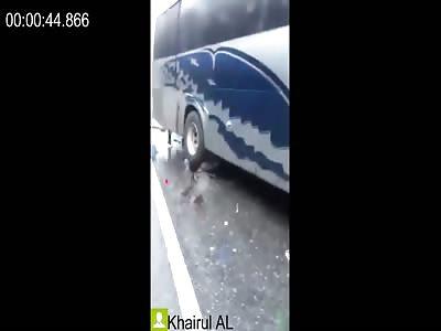 Biker Crushed like Bug under the Bus Wheel + More Dead