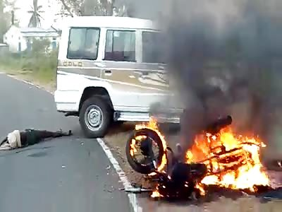 Burning Bike Accident