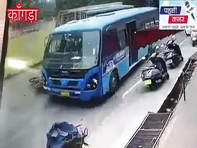 Biker Slides Under the Bus to His Death