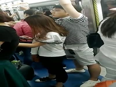 Handjob on the metro