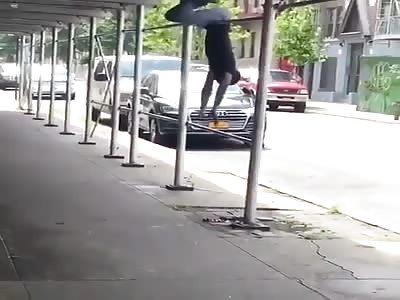 Crackhead Knocks Himself Out Tryna Do Some Tricks On A Pole!
