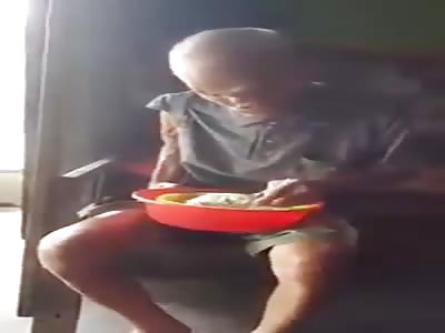Creepy old man eating