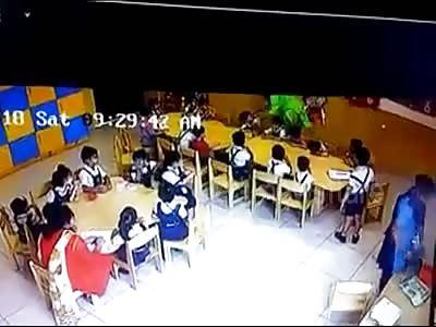 Teacher puts Sellotape across mouths of nursery children to keep them