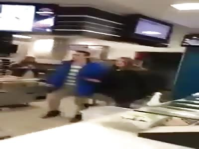 Fight kicks of in Stockport McDonalds