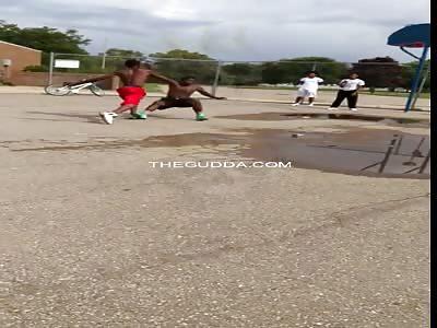 Dude Gets His Head Kicked Like A Soccer Ball....