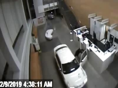 Woman crashing car into LA police station lobby